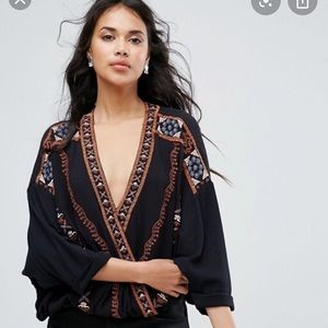 Free People Crescent Moon Embroidered Top M/L